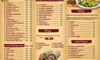 Santos Sub Shop menu graphic design in Reading, Pa